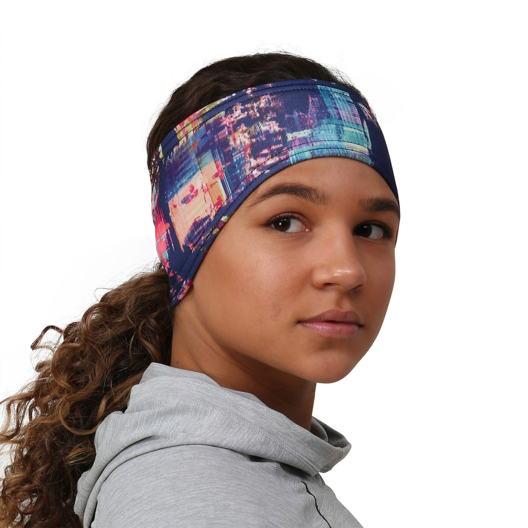 trailheads print pony women's running headband citiscape