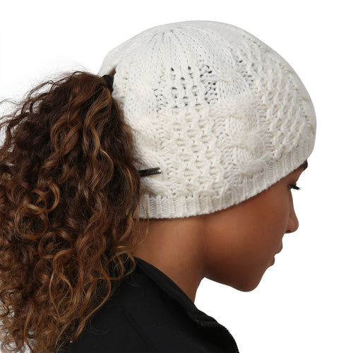 trailheads cable knit ponytail running beanie women's white