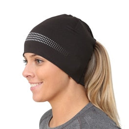trailheads adrenaline ponytail running beanie women's black and reflective