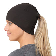 Load image into Gallery viewer, trailheads adrenaline ponytail running beanie women's black