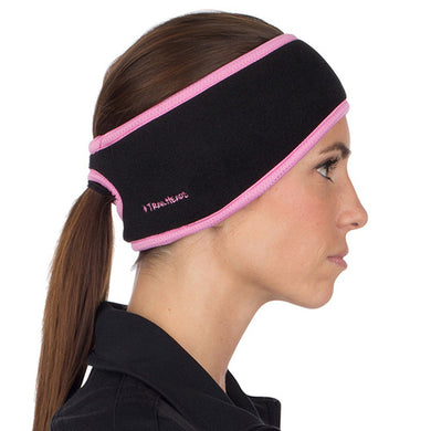 trailheads performance ponytail running headband women's black and pink