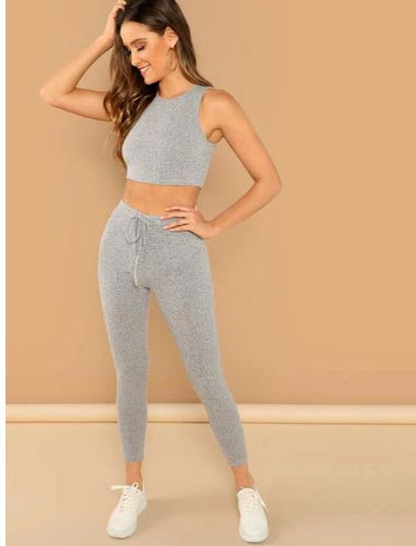 shein women's crop and leggings matching set heathered gray