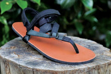 Load image into Gallery viewer, shamma sandals running tan sandal on log with power straps