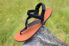 Load image into Gallery viewer, shamma sandals running tan leather sandal on rock