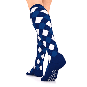 go2 compression socks argyle blue and white