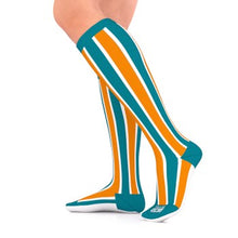 Load image into Gallery viewer, go2 running compression team sock teal and orange