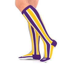 Load image into Gallery viewer, go2 running compression team sock purple and gold