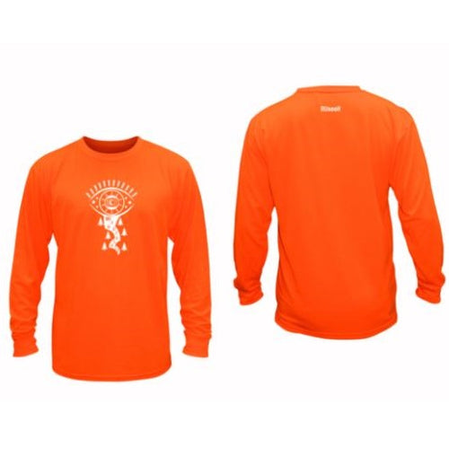 ruseen running mens long sleeve unique reflective shirt orange