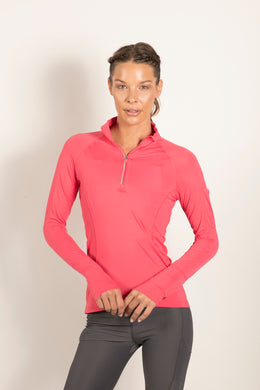 bloquv quarter zip sun protection running long sleeve women's watermelon
