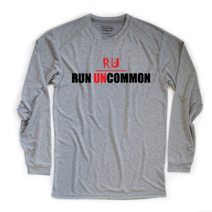 women's run uncommon long sleeve running tee heather grey