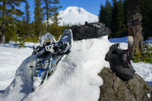 outdoor cold weather running shoes on snowy rock