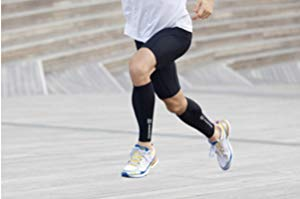 man running in rehband compression calf sleeve black