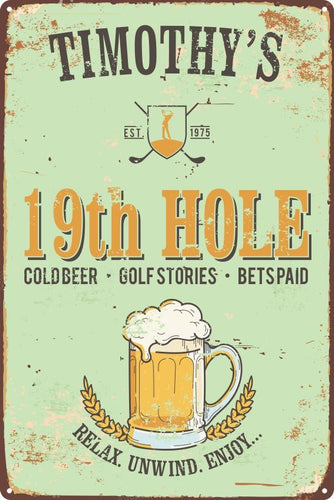 Personalised 19th Hole Sign