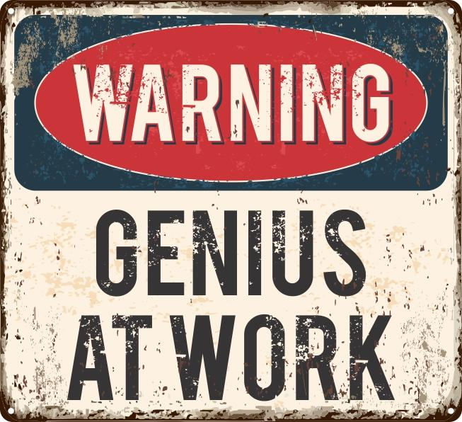 Genius at Work Sign - Wooptooii