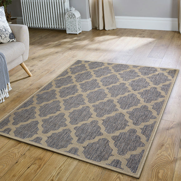 Anti Slip Rug Living Room Grey Beige Moroccan Trellis Flat Weave Carpet Small Large Runner