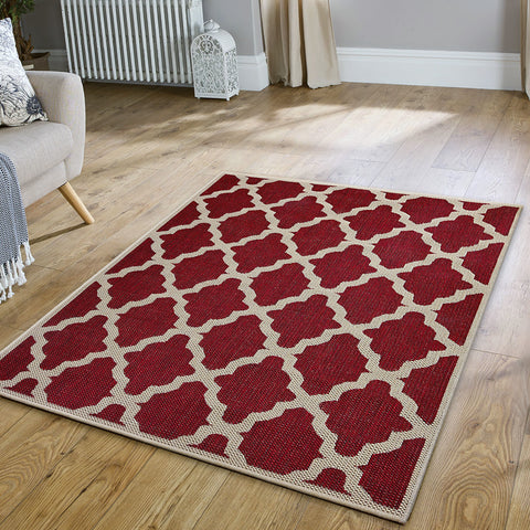 Anti Slip Rug Living Room Red Moroccan Trellis Pattern Flat Weave Carpet Mat Large Small Runner