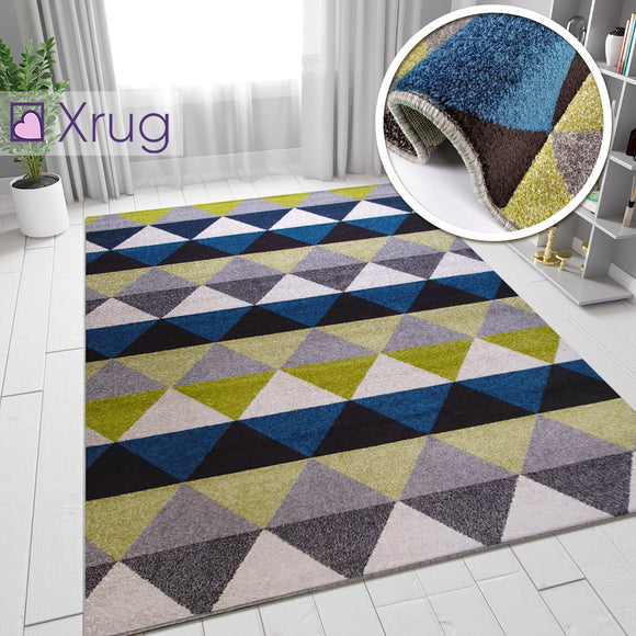 Modern Rugs Petrol Blue Lime Green Grey Diamond Pattern Carpet Bedroom Floor Mat