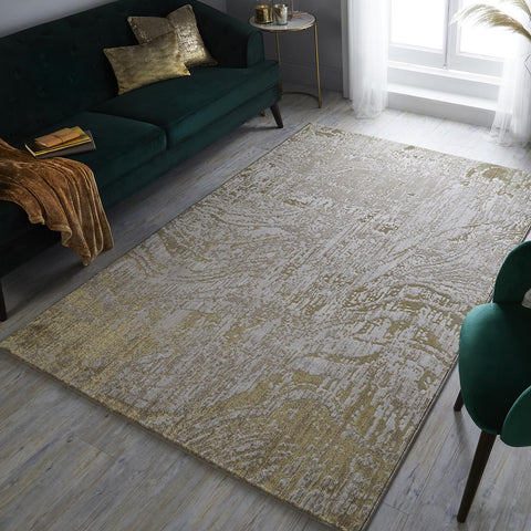 Modern Rug Beige Gold Cream Abstract Marble Pattern Large Medium Carpet Area Mat