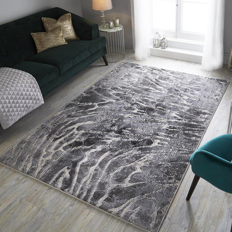 Grey Marble Rug Modern Patterned Carpet Soft Woven Bedroom Living Room Floor Mat
