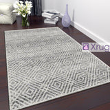 Geometric Rug Cream Grey Check Pattern Mat New Modern Bedroom Carpet Small Large