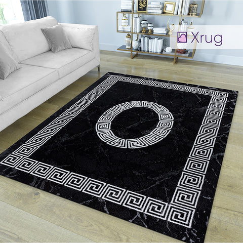 Black Marble Rug White Greek Border Living Room Bedrom Carpet Mat Woven Area Rugs Extra Large Small