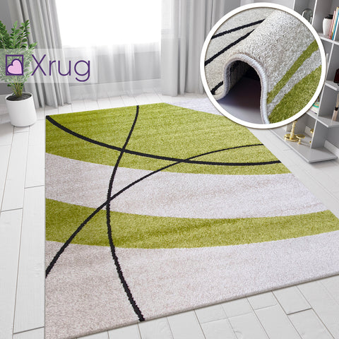 Modern Rug Ivory Green Abstract Pattern Mat Small Large Living Room Area Carpets