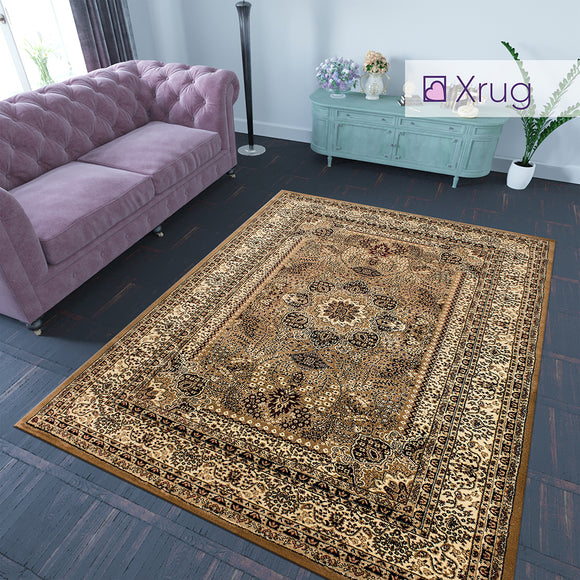 Beige Oriental Rug Thick Soft Floral Traditional Rug Carpet Extra Large Small Living Room Bedroom Mat