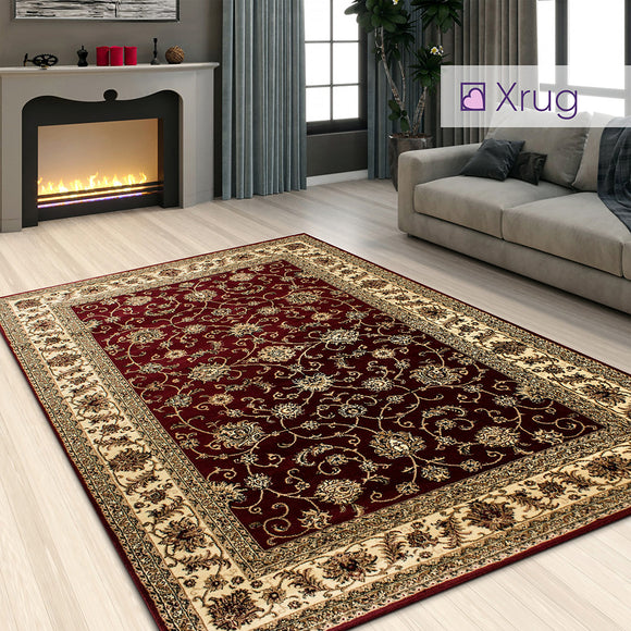 Red Oriental Rug Traditional Carpet Floral Beige Cream Pattern Extra Large Small Thick Soft Area Mat