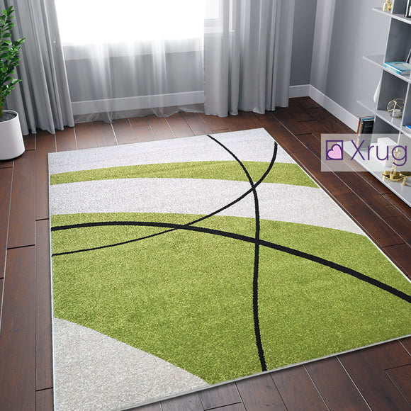 Сream and Green Rug Abstract Woven Living Room Bedroom Rug Carpet Mat Large Small
