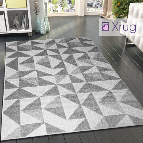 Grey Cream Rug Geometric Pattern Woven Living room & Bedroom Carpet Mat Small Large