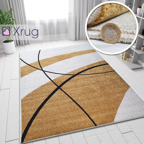 Cream Yellow Gold Rug Living Room Bedroom Rugs Carpets Soft Short Pile Contemporary Woven Mat
