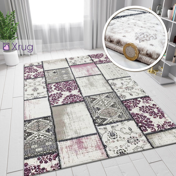 Pink Grey Cream Rug Patchwork Pattern Small Large Wooven Carpet Living Room Bedroom Floor Mat