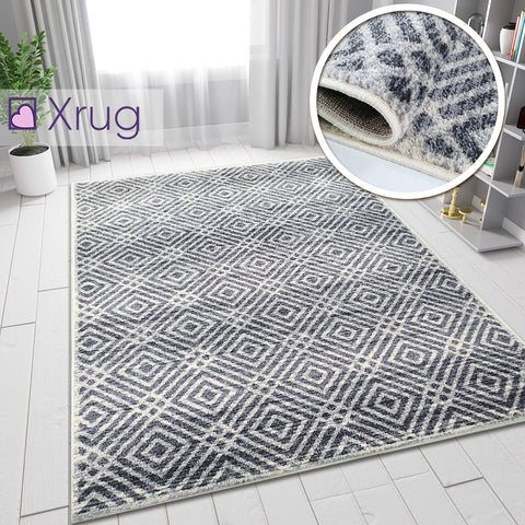 Cream and Grey Rug Aztec Patterned Woven Soft Carpet Small Large Bedroom Living Room Rug Floor Area Mat
