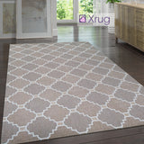 Cotton Rug Trellis Brown Beige Taupe Small Extra Large Runner Flatweave Carpet Rug Washable Woven Mat