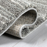 Grey Cream Tassels Rug Modern Striped Soft Pile Carpet Polypropylene Rug Bedroom Area Small Large Mat Living Room Lounge Woven Contemporary Floor New 80x150cm 120x170cm 160x230cm 200x290cm