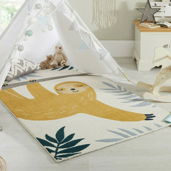 Kids Animal Rug Cream Yellow Baby Nursery Carpet Childerns Bedroom Floor Mat