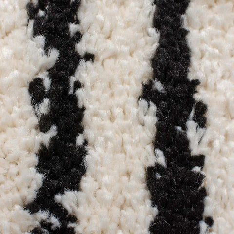 Area Long Pile Shaggy Rug for Living Room Bedroom Cream Ivory Black Moroccan Berber Pattern Carpet Small Large High Pile Fluffy Polypropylene Mat