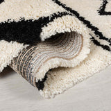 Cream Ivory Black Rug Modern Moroccan Berber Pattern Shaggy Carpet Soft Deep Long High Pile Fluffy Living Room Bedroom Area Lounge Small X Large Floor Mat