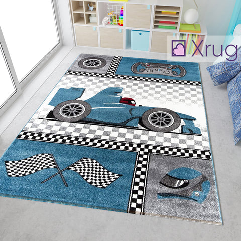 Car Rug Boys Rug Kids Blue Play Room Bedroom Mat Small Large XL New Soft Carpets