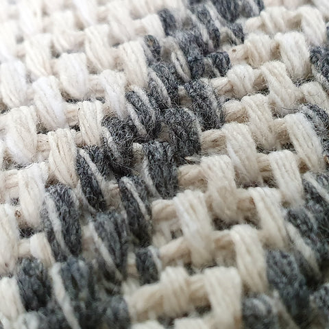 Cream Diamond Rug Woven Grey Patterned Carpet 100% Cotton Washable Rug Runner