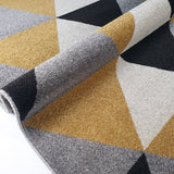 Geometric Rug Gold Grey Black Cream Patterned Rug Carpet Mat for Living Room Bedroom