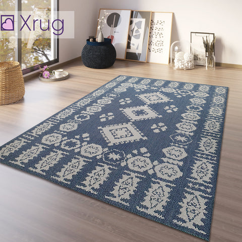 Navy Blue Rug 100% Cotton Washable Rugs Runners Moroccan Pattern Flat Weave Area Mat Large Small