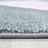 Blush Pink Grey Geometric Rug Modern Contemporary Carpet for Living Room Woven Mat Large Small