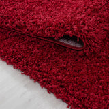 Shaggy Rug Red Fluffy Long Pile Mat New Modern Small Large Bedroom Plain Carpets