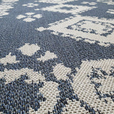 Living Room Rug Navy Blue Grey Dimaond Woven Cotton Washable Carpet Mat Runner