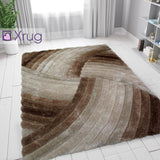Brown Beige Rug Soft Fluffy Living Room Bedroom Carpet Geometric Shaggy Rug Mat Large Small