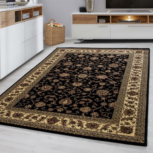Large Traditional Rug Small Oriental Black Beige Patterned Carpet Room Floor Mat