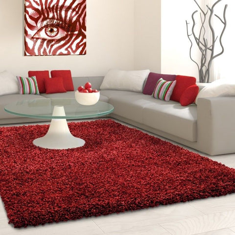 Modern Rug Fluffy Shaggy Red High Pile Floor Carpet Dining Room Lounge Mat Round