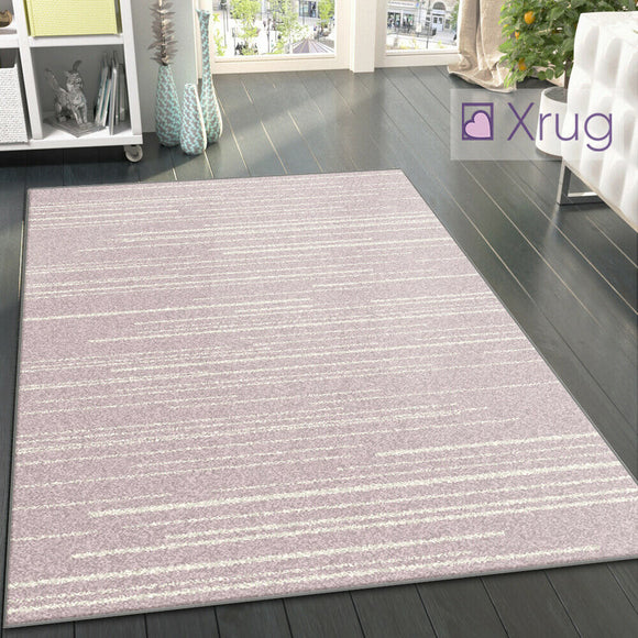 Striped Rug Pink Cream Modern Pattern Mat Large Woven Living Room Lounge Carpet