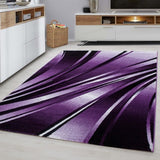 Modern Rug Designer Black and Purple Abstract Pattern Carpet Bedroom Hallway Mat